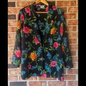VNTG Maggie Sweet Floral Two Button Blazer L